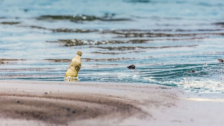 Plastic bottles float in the sea