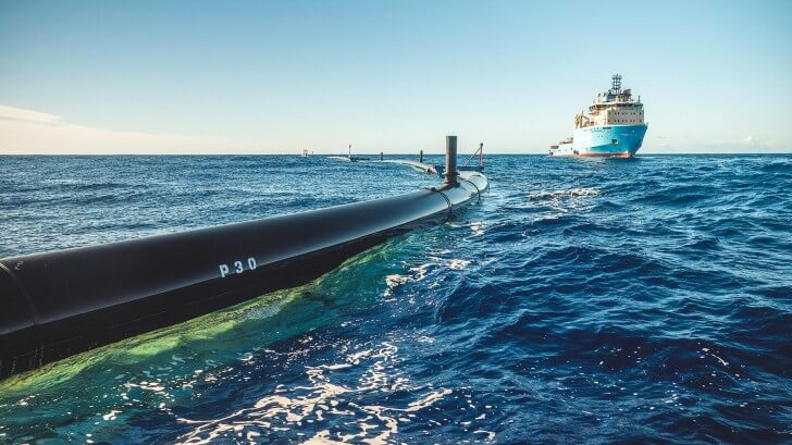 System 001 in operation in the Great Pacific Garbage Patch