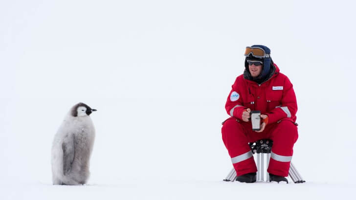 Cameraman Lindsay McCrae sits in the snow, watched by an Emperor penguin