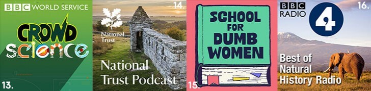 Images showing Crowd Science, National Trust, School for Dumb Women and BBC Radio 4 Best of Natural History Radio podcasts.