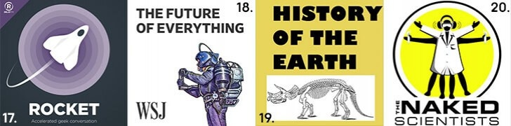 Images showing Rocket, The Future of Everything, History of the Earth and the Naked Scientists podcasts.