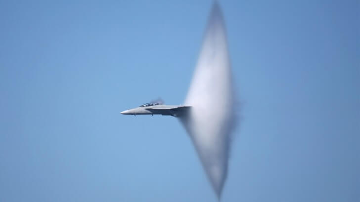 a supersonic flight
