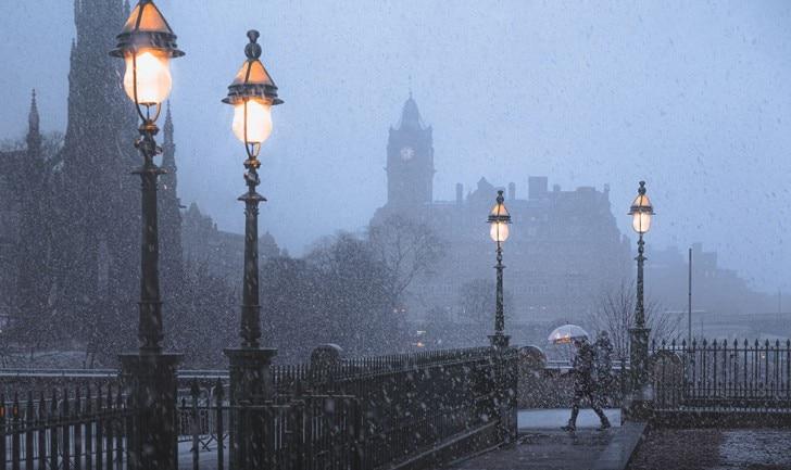 Snow falling in street
