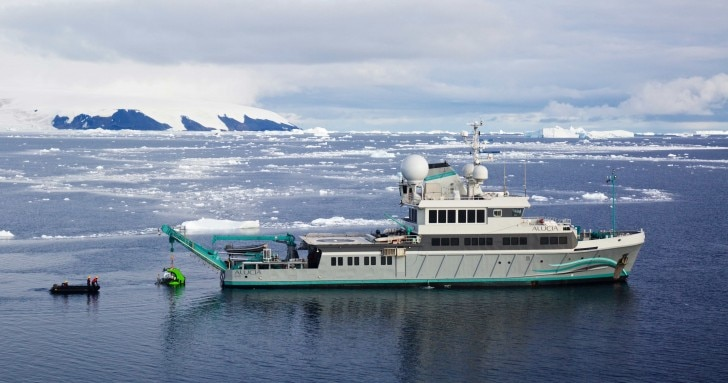 A boar moored in the waters of the Antarctic Sound