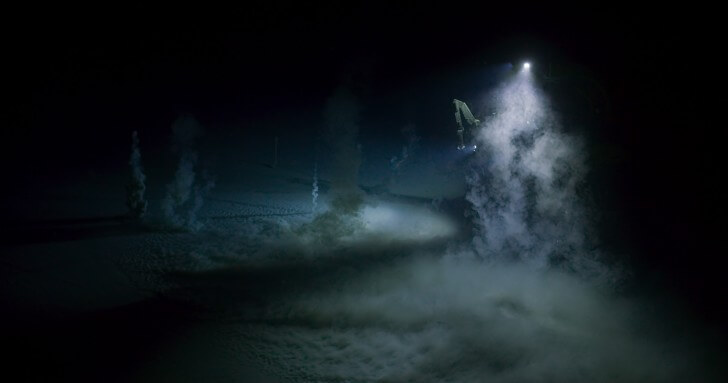 A methane or 'mud' volcano, 650 metres deep in the Gulf of Mexico, where bubbles of methane erupt from the seafloor