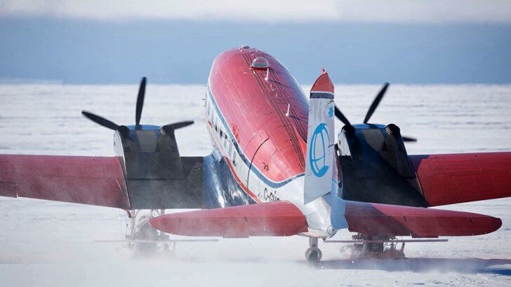A aeroplane parked on the Antarctic ice
