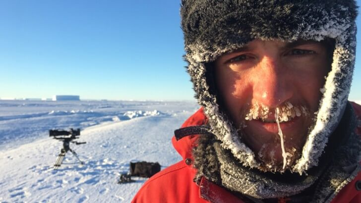 Lindsay McCrae with a frozen moustache and beard in Antarctica