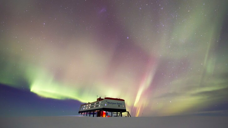 The Aurora Australis above a research station