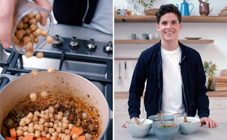 Max La Manna and a saucepan filled with chickpeas
