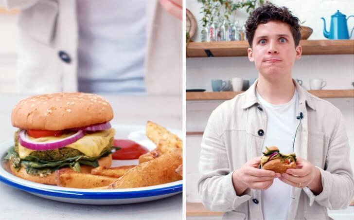 Max la Manna eats a green burger