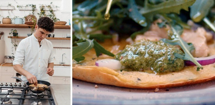 Max La Manna makes socca pancake with leftover herb stem pesto