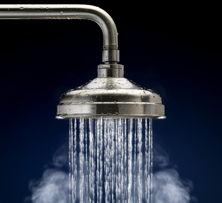 Water coming out of a shower head