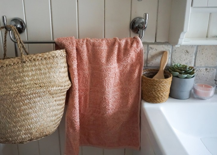 A towel hanging in the bathroom