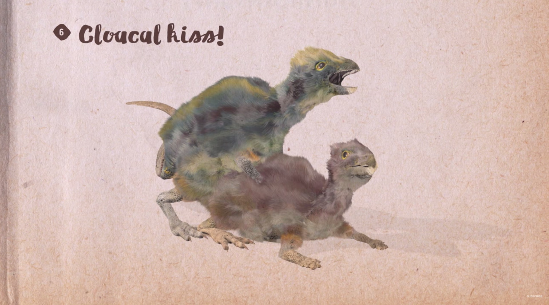 Two dinosaurs in the act of a cloacal kiss