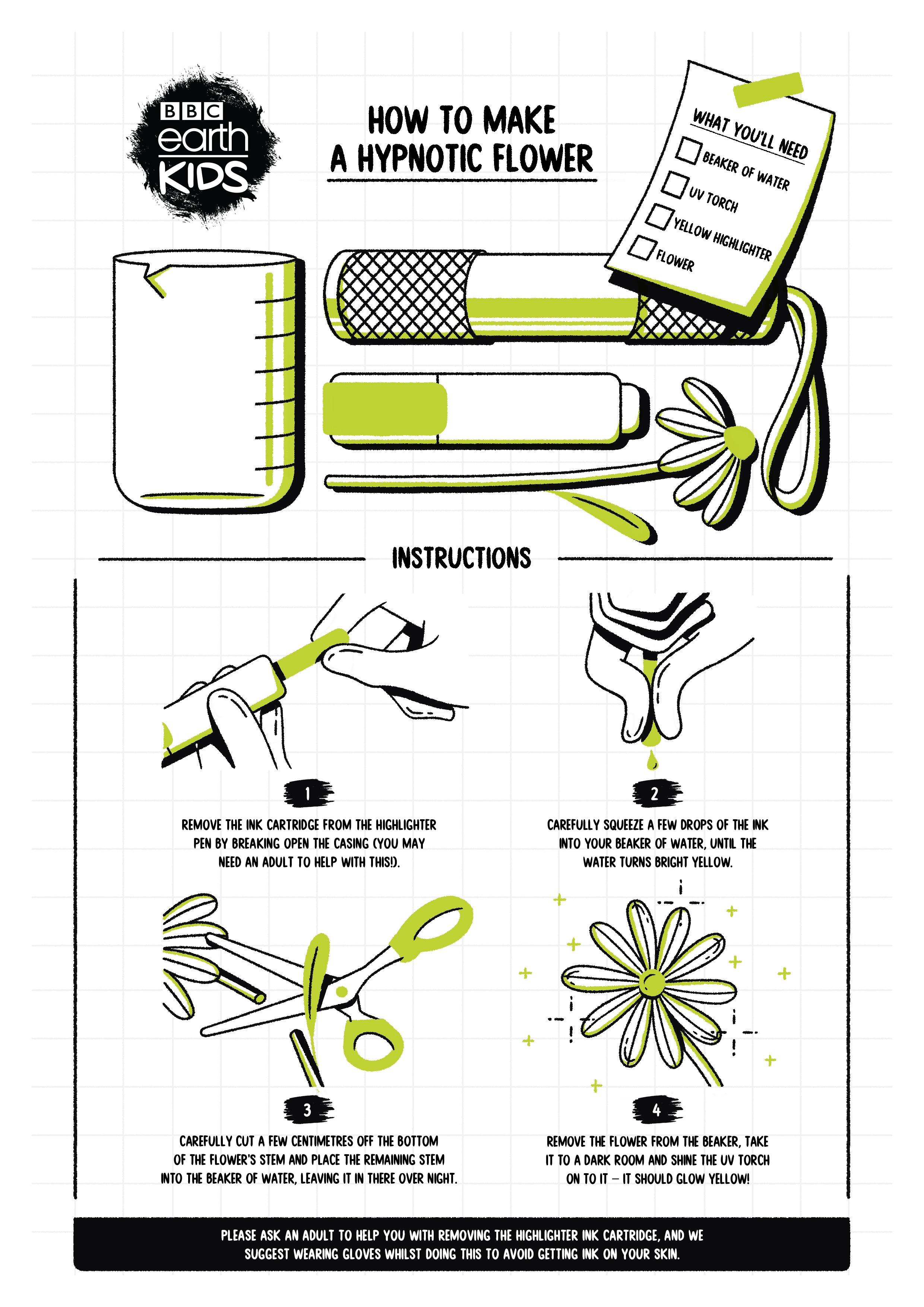 How to make a hypnotic flower worksheet