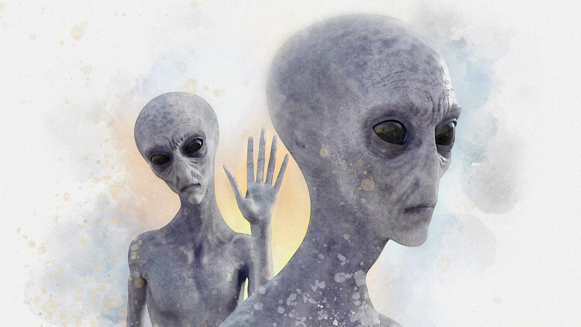 Illustration of two grey aliens