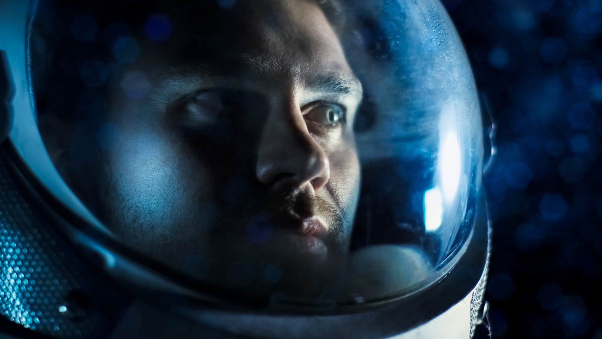 Close up of man in spacesuit